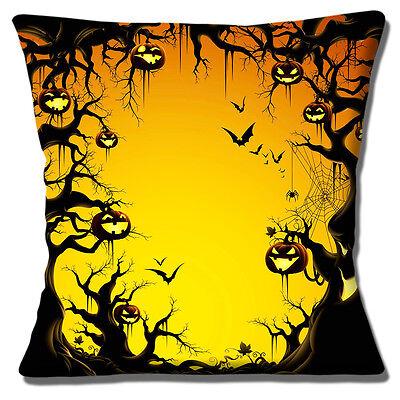 ürbis Laternen Fledermäuse Bäume 16 Kissenbezug (Halloween-wald)