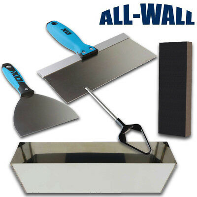 Ox Tools Drywall Finishing Set W Mud Pan Taping Knives Mixer Sanding Sponge