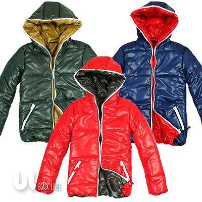 Wattierte Winter Jacke Kinder Jungen Steppjacke Kapuzenjacke 3 Farben Rot Blau