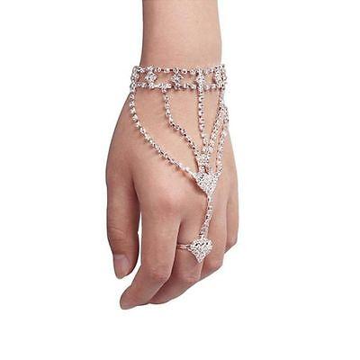 With Finger Ring Hand Chain Bangle Bracelet Double Peach Heart Bracelet Double Heart Bangle Bracelet