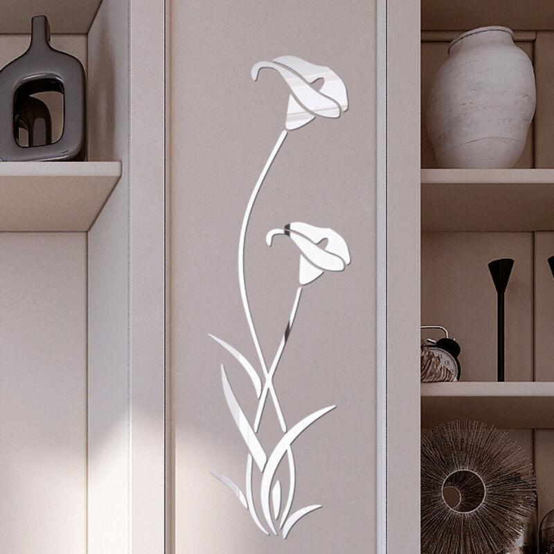 US Mirror Flower Art Removable Wall Sticker Acrylic Mural De