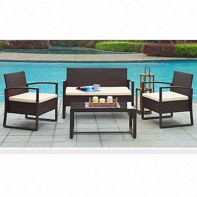 4 PC Rattan Patio Furniture Set Garden Lawn Sofa Wicker Cushioned Seat Brown
