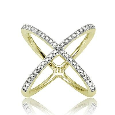 Gold Tone over Sterling Silver Diamond Accent Criss-Cross X Ring Diamond Accent Criss Cross Ring