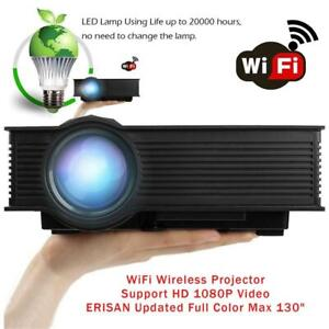 NEW WiFi Wireless Projector _Support HD 1080P Video_ERISAN Updated Full Color Max 130 Pro Portable LCD LED Mini Proj...