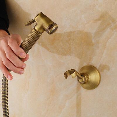 Bathroom Wall Mount Antique Brass Bidet Faucet Handheld Sprayer Holder Pipe Brass Bidet Bathroom Faucet