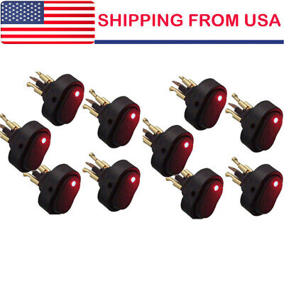 10 12v 30a Heavy Duty Red Led Offon Rocker Switch Car Boat Marine Hot Sale