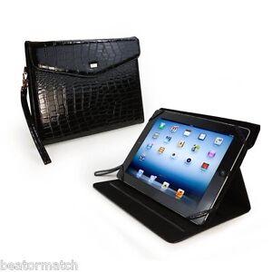 Tuff-Luv Patent Croc Leather Purse New iPad Case Cover Stand Retina Black 17_13