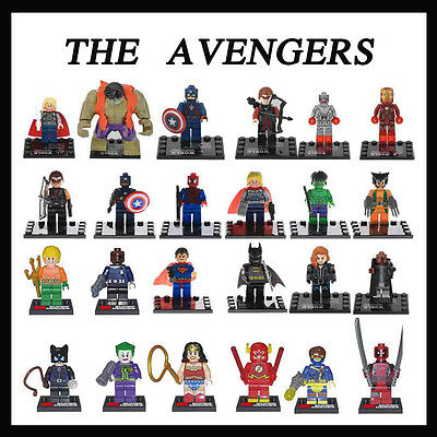 US 24 PCS Minifigure Building Toys Super Heroes Wolverine Superman Hulk Batman
