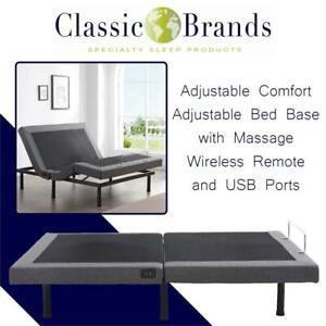 NEW Classic Brands Adjustable Comfort Adjustable Bed Base with Massage, Wireless Remote and USB Ports, Queen Condtion...