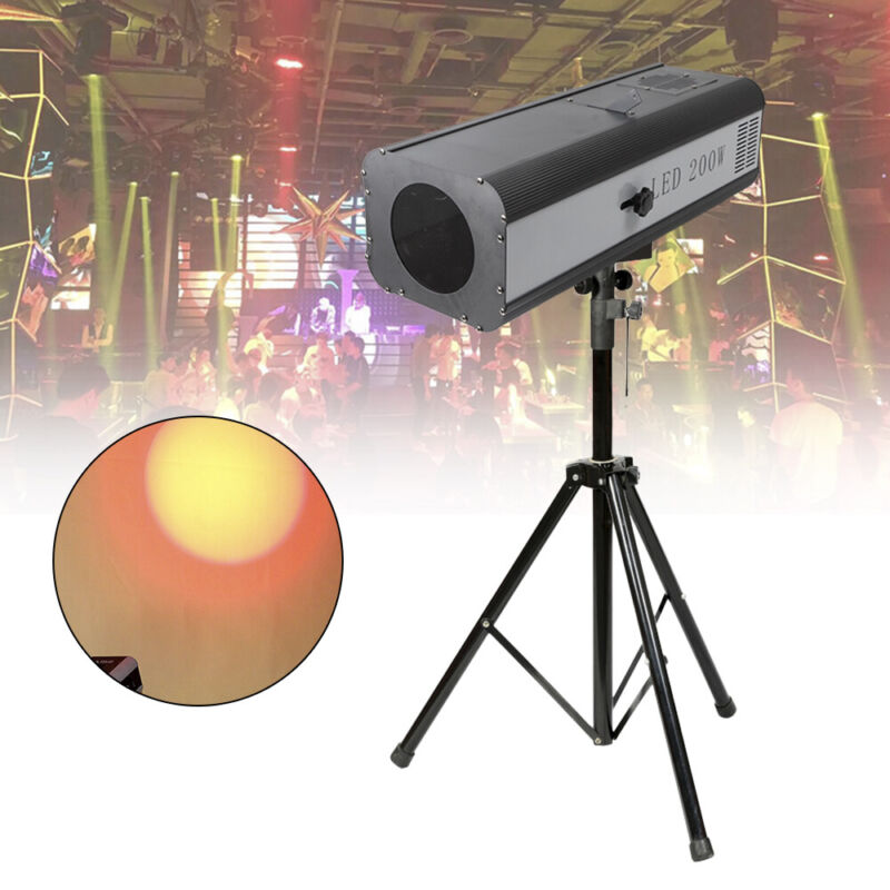 LED Follow Spotlight w/ Stand 200W Stage Effect Light 5 + white split color 200W