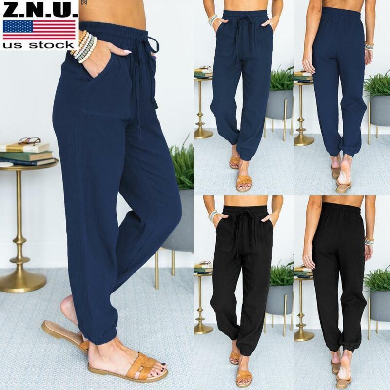 Womens Elastic High Waist Casual Loose Drawstring Long Pants Joggers Trousers Us