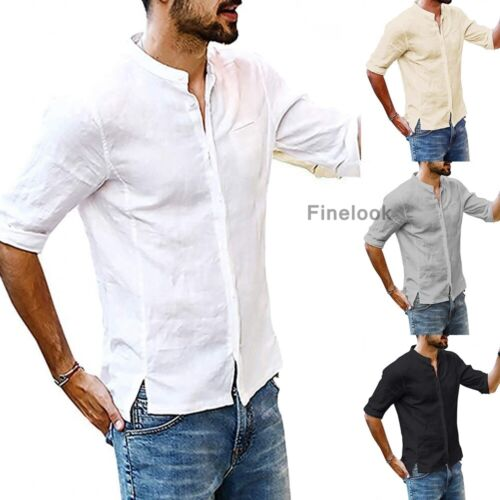 summer men s linen mid sleeve shirt