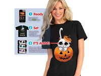 Halloween T-Shirt - Kitty Eyes - Digital Dudz Adorable KITTY EYES T-Shirt Large - NEW - fancy dress