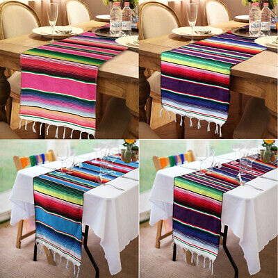 1/10x Mexican Serape Table Runner Festival Party Fringe Cotton Tablecloth Decor](Serape Tablecloth)