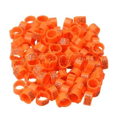 100 x Orange Plastic Clip Number 1-100 Pigeon Supplies Rings Bands 9.5mm