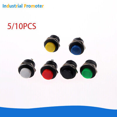 510pcs 16mm Normally Open Round Momentary 2pins Metal Push Button Switch 6color