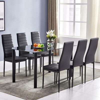 7 PIECES DINING TABLE BLACK GLASS TABLE AND 6 CHAIRS FAUX LEATHER DINNING SET