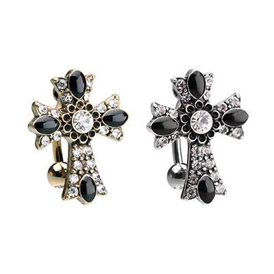 Silver & Golden Antique Cross Drop Top Reverse Belly Button Ring Cross Belly Button Ring