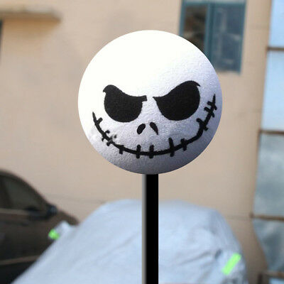 Halloween Skull Car Antenna Topper Aerial Ball Decoration Toy White Universal