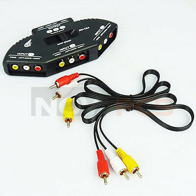 3-Way Audio Video AV RCA Switch Selector Box Splitter For XBOX PS3 PS2 DVD