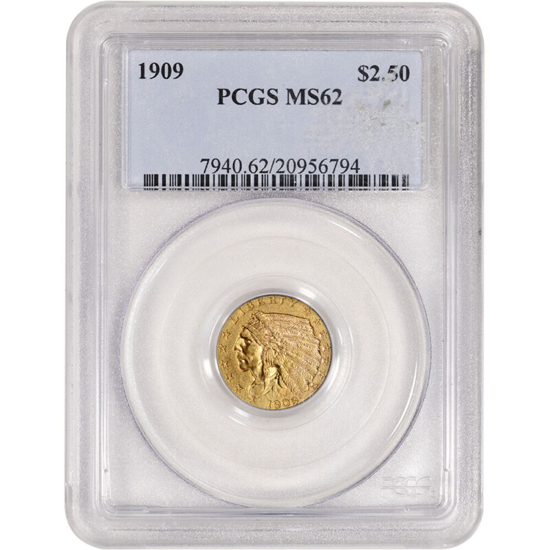 1909 US Gold $2.50 Indian Head Quarter Eagle - PCGS MS62