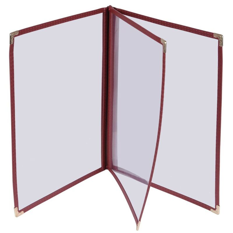 30PCS Menu Cover 8.5x11 6 View 3 Page Burgundy Trim Trifold Transparent Volume