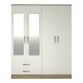 hampton 4 door 2 drawer mirrored wardrobe oak and white