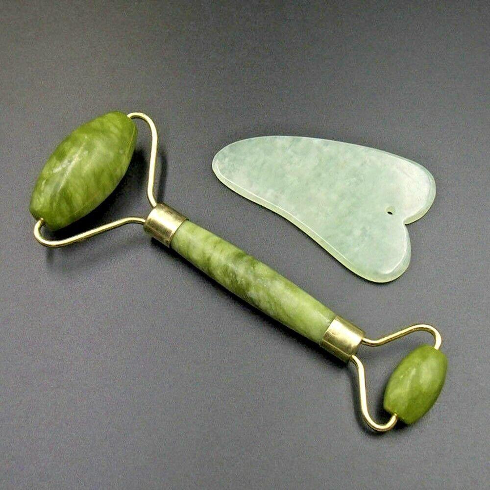 Premium Jade Roller Gua Sha Board Set - 100% Natural Real Jade Roller 1