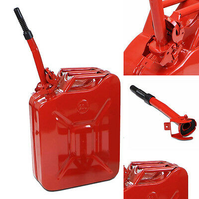 New 20L 5 Gallon Gas Jerry Can Fuel Steel Tank Military RED w / Spout