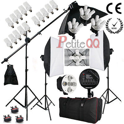 2850W Continuous Soft Box Studio Lighting Kit Photography Softbox Photo Boom arm