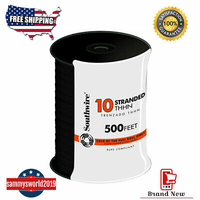 10 Gauge Electrical Wire Thhn Stranded Cable Conductor Southwire 500 Ft Black