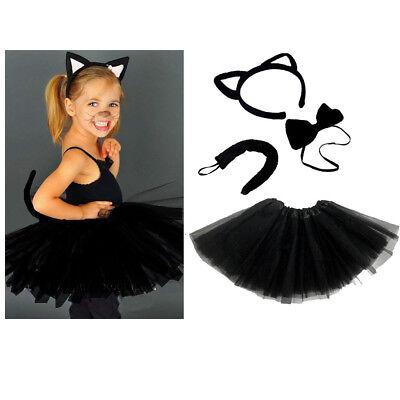 Schwarze KATZEN KOSTÜM Mädchen od. Damen Verkleiden Fasching Karneval - Faschingkostüm Katze Kostüm