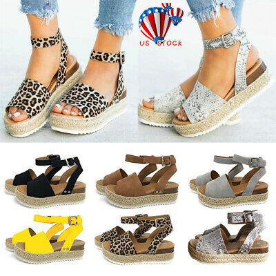 fc9391635411 Womens Platform Sandals Espadrille Ankle Strap Comfy Summer Peep Toe Shoes  Size