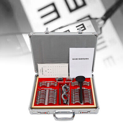 104 Pcs Optical Trial Lens Set Optometry Kit Metal Rim Aluminum Case Trial Frame