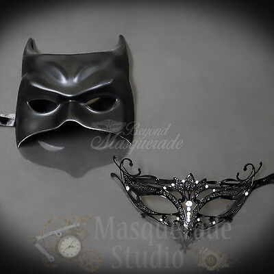 His & Her's Couple's Black Batman and Majestic Costume Masquerade Masks Set
