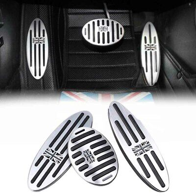 3PC/SET Black UK Flag AT Auto Aluminum Pedal Gas Brake Footrest for Mini (3 Pedal Set)