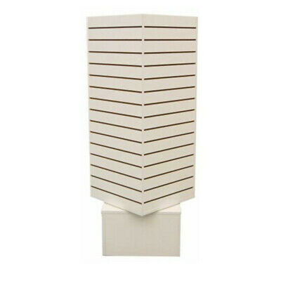 20x 20x 54 White Rotating Cube Tower 4 Sided Revolving Slatwall Floor Display