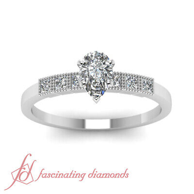 .65 Ct Pear Shaped Untreated Diamond Engagement Ring VS2-D Color GIA Certified 1