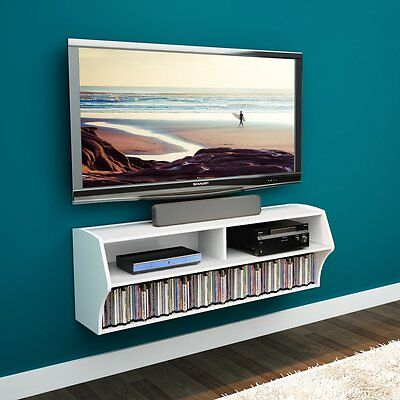 Audio Video Stands Mounts - Prepac Altus Wall Mounted Audio/Video Console TV Stand, White, 53