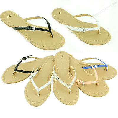 Womens Sandals Fashion Bling Buckle Summer Style Beach Flat Thongs Flip Flops