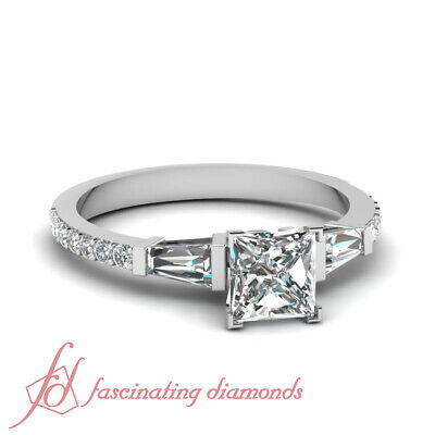 Pave Set Three Stone Engagement Ring 1.30 Ct Princess Cut Diamond GIA Certified