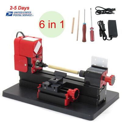 6in1 Micro Lathe Diy Machine Jigsaw Milling Drilling Sanding Wood-turning Metal