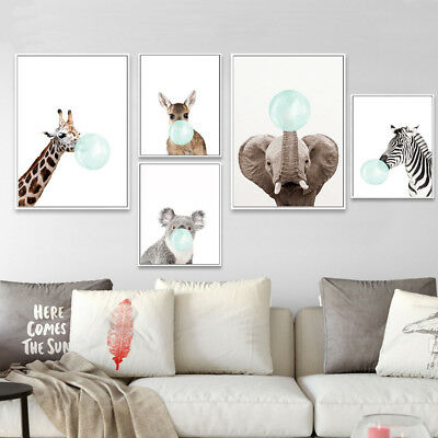 Deer Koala Baby Animal Canvas Funny Poster Nursery Art Print Kid Bedroom Decor