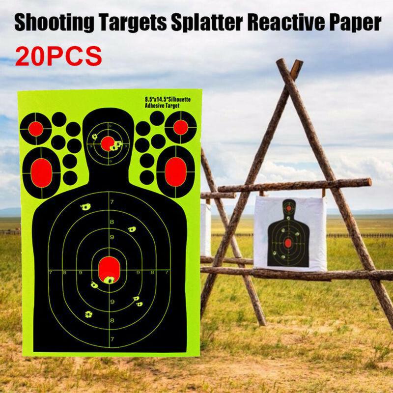 20PCS Shooting Targets Splatter Glow Gun Rifle Paper Target Adhesive Exercise US