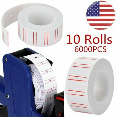 6000pcs 10 Rolls Price Gun Tag Sticker Label Refill Mx 5500 Paper White Red Line