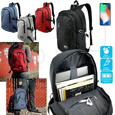 - Anti-theft Mens Womens USB Charging Backpack Laptop Notebook Travel School Bag