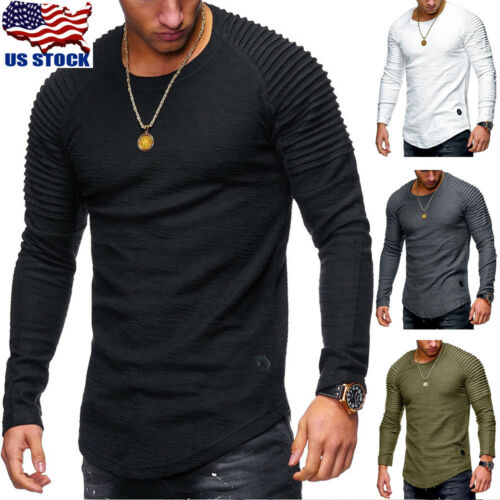 Thermal Men Slim Fit O Neck Long Sleeve Muscle Tee T-shirt C