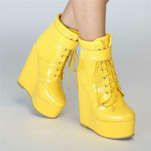 Super Sexy Women Ankle Boots Platform Round Toe Yellow Wedge