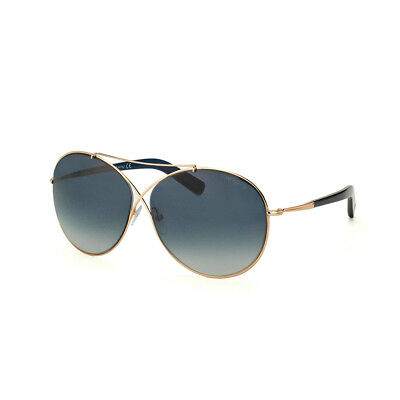 TOM FORD Damen Aviator Sonnenbrille IVA FT0394S 28W Rosegold Blau verlauf NEU