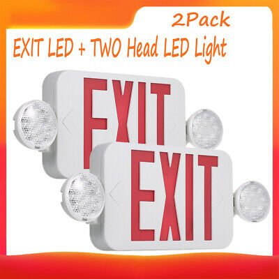 2pcs Red Led Emergency Exit Light Sign Combo Battery Backup Security Light X5w4